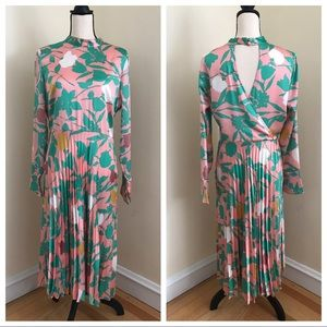 ASOS DESIGN floral pleated midi dress